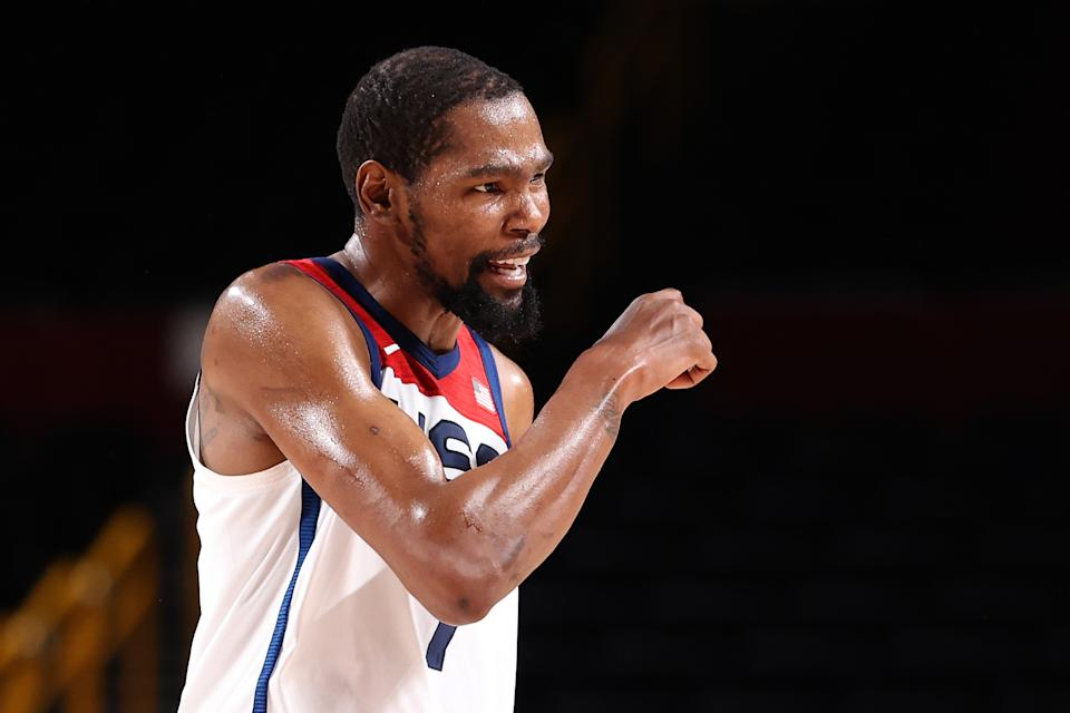 SAITAMA, JAPAN - JULY 31: Kevin Durant #7 of Team United States reacts against Czech Republic during the second half of a Men's Basketball Preliminary Round Group A game on day eight of the Tokyo 2020 Olympic Games at Saitama Super Arena on July 31, 2021 in Saitama, Japan. (Photo by Gregory Shamus/Getty Images)
