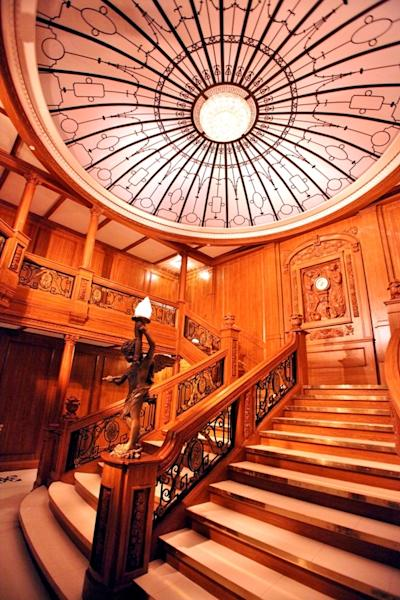 The exhibition includes a full-scale re-creation of the Ship's iconic Grand Staircase with an intricately carved clock showing the time of 11:40 p.m., the exact time that Titanic hit the iceberg.