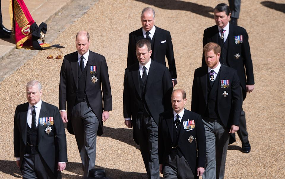 Prince Andrew, Duke of York, Prince William, Duke of Cambridge, Prince Edward, Earl of Wessex, Peter Phillips, Earl of Snowdon David Armstrong-Jones, Prince Harry, Duke of Sussex and Vice-Admiral Sir Timothy Laurence during the funeral of Prince Philip