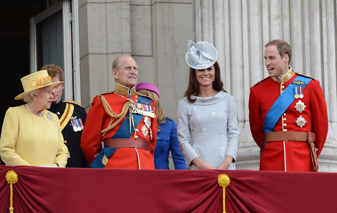 Queen Elizabeth II, Prince Philip, Duke of Edinburgh, Catherine, the Duchess of Cambridge, aka Kate Middleton and Prince William, The Duke of Cambridge  2012 Trooping the Colour ceremony on the Balcony at Buckingham Palace London, England - 16.06.12 Mandatory Credit: Tony Clark/WENN.com