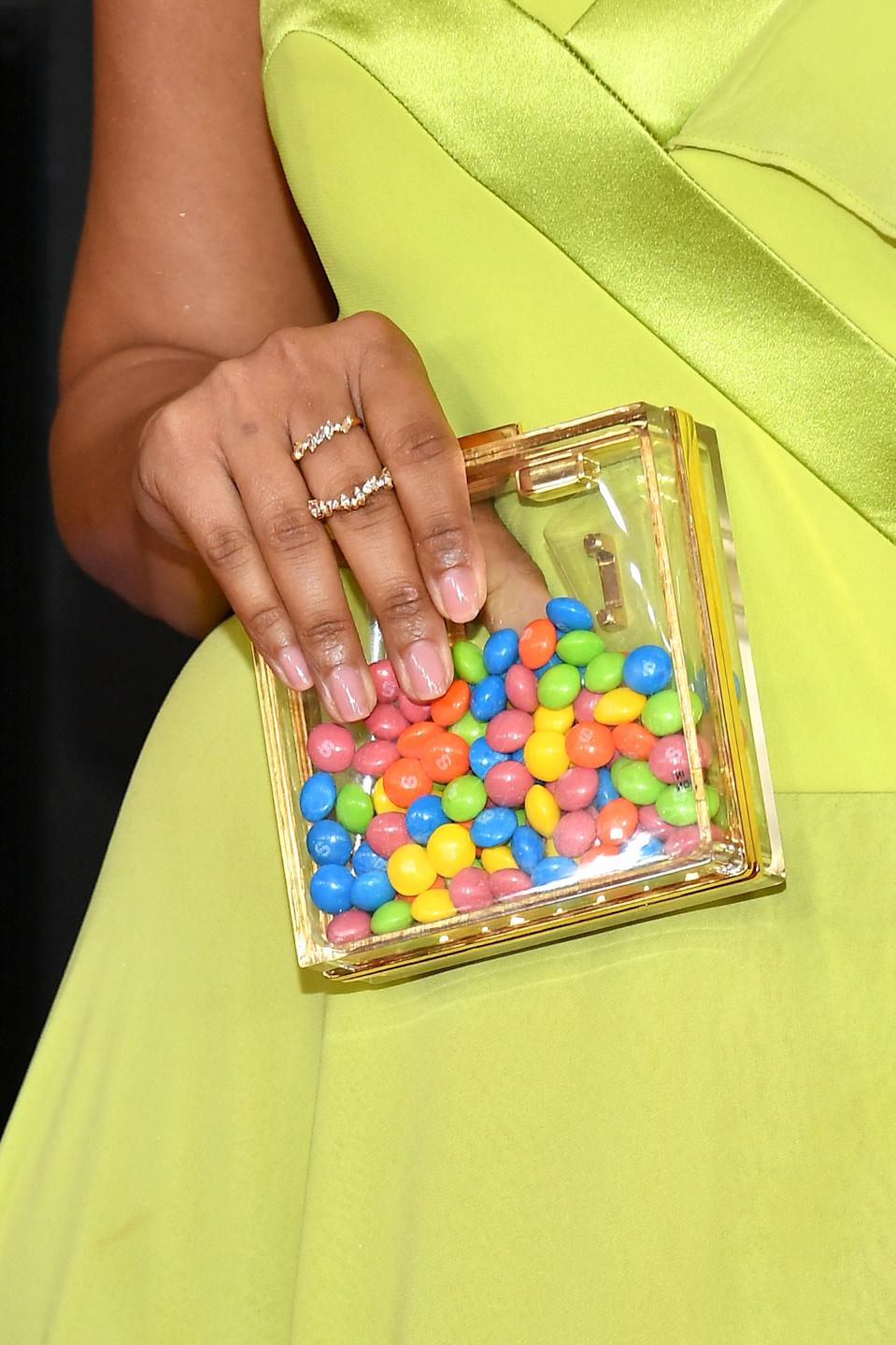 LOS ANGELES, CALIFORNIA - JANUARY 26: Lilly Singh, accessory detail, attends the 62nd Annual GRAMMY Awards at Staples Center on January 26, 2020 in Los Angeles, California. (Photo by Amy Sussman/Getty Images)