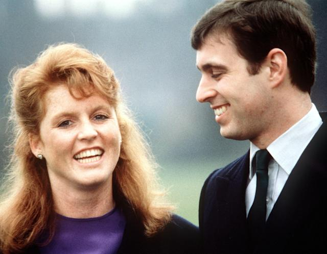 Sarah Ferguson and Prince Andrew on their official engagement day at Buckingham Palace in 1986. (Photo: Getty Images)