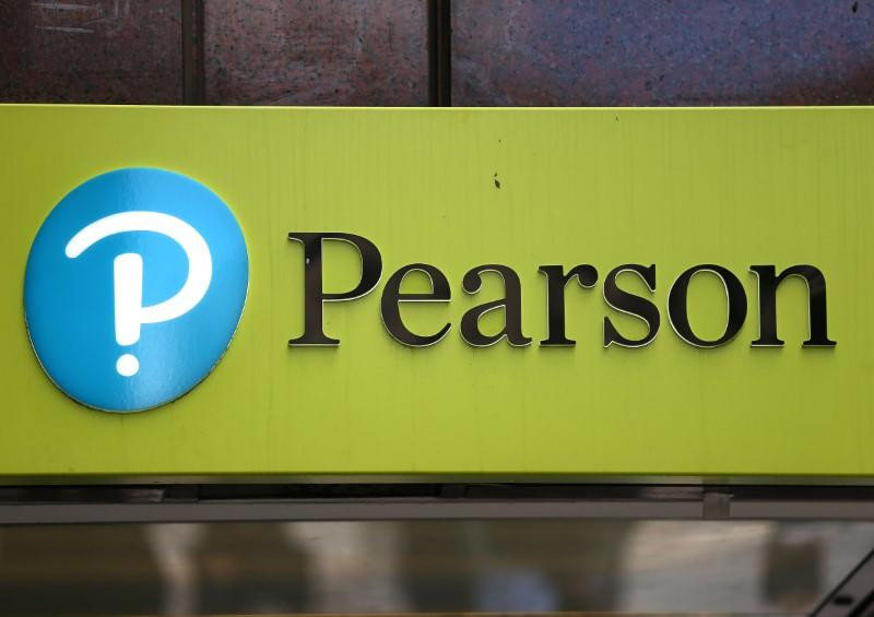 FILE PHOTO - The company logo is displayed outside the Pearson offices in London