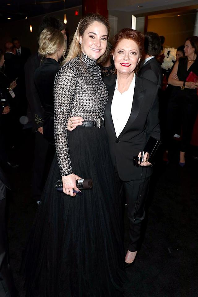 <p>Shailene Woodley and Susan Sarandon attend the InStyle and Warner Bros. party at the Beverly Hilton Hotel. (Photo: Joe Scarnici/Getty Images for InStyle) </p>