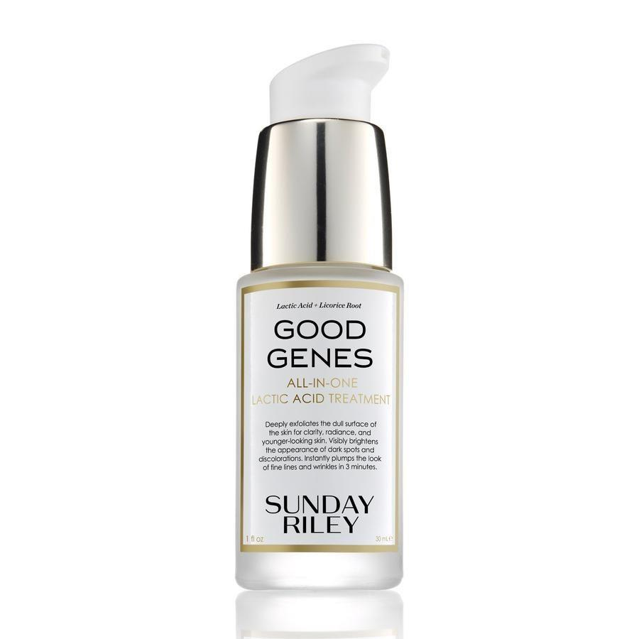 """<em>Allure</em> editors have already confirmed that <a href=""""https://www.allure.com/review/sunday-riley-good-genes-all-in-one-lactic-acid-treatment?mbid=synd_yahoo_rss"""" rel=""""nofollow noopener"""" target=""""_blank"""" data-ylk=""""slk:Sunday Riley's Good Genes Lactic Acid Treatment lives up to the hype"""" class=""""link rapid-noclick-resp"""">Sunday Riley's Good Genes Lactic Acid Treatment lives up to the hype</a>, and board-certified dermatologist <a href=""""https://www.drjaliman.com/"""" rel=""""nofollow noopener"""" target=""""_blank"""" data-ylk=""""slk:Debra Jaliman"""" class=""""link rapid-noclick-resp"""">Debra Jaliman</a> agrees. """"The 5 percent lactic acid plumps the skin,"""" she tells <em>Allure</em>. According to Jaliman, the glowy skin-inducing treatment is infused with licorice extract to diminish the appearance of dark spots and <a href=""""https://www.allure.com/story/how-to-combat-hyperpigmentatio?mbid=synd_yahoo_rss"""" rel=""""nofollow noopener"""" target=""""_blank"""" data-ylk=""""slk:hyperpigmentation"""" class=""""link rapid-noclick-resp"""">hyperpigmentation</a>. There's also <a href=""""https://www.allure.com/gallery/best-aloe-skin-care-products?mbid=synd_yahoo_rss"""" rel=""""nofollow noopener"""" target=""""_blank"""" data-ylk=""""slk:aloe"""" class=""""link rapid-noclick-resp"""">aloe</a> to eliminate redness, and lemongrass, which gets rid of bacteria with its natural antiseptic properties."""