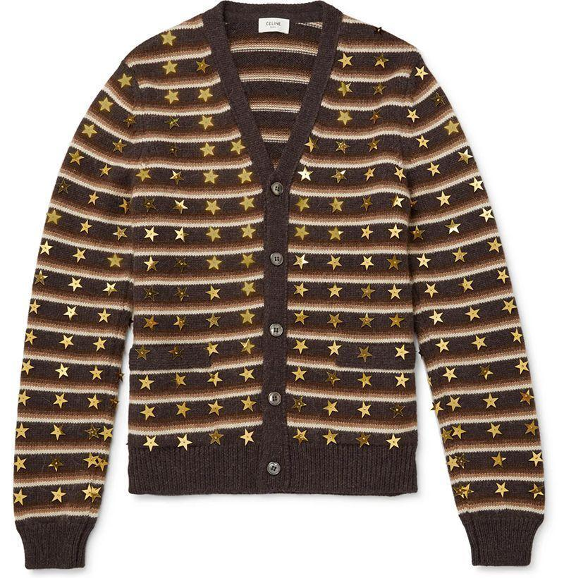 """<p><strong>CELINE HOMME</strong></p><p>mrporter.com</p><p><strong>$2450.00</strong></p><p><a href=""""https://go.redirectingat.com?id=74968X1596630&url=https%3A%2F%2Fwww.mrporter.com%2Fen-us%2Fmens%2Fproduct%2Fceline-homme%2Fclothing%2Fcardigans%2Fstar-embroidered-striped-wool-and-alpaca-wool-blend-cardigan%2F25458910981714147&sref=https%3A%2F%2Fwww.esquire.com%2Fstyle%2Fmens-fashion%2Fg34743153%2Fbest-new-menswear-nobember-21-2020%2F"""" rel=""""nofollow noopener"""" target=""""_blank"""" data-ylk=""""slk:Shop Now"""" class=""""link rapid-noclick-resp"""">Shop Now</a></p>"""