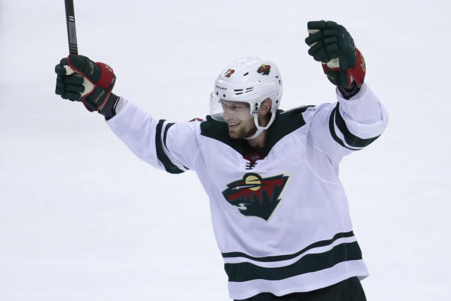 Minnesota Wild center Eric Staal (12) reacts after center Luke Kunin scored an empty net goal during the third period of an NHL hockey game against the Florida Panthers, Tuesday, Dec. 3, 2019, in Sunrise, Fla. The Wild won 4-2. (AP Photo/Lynne Sladky)