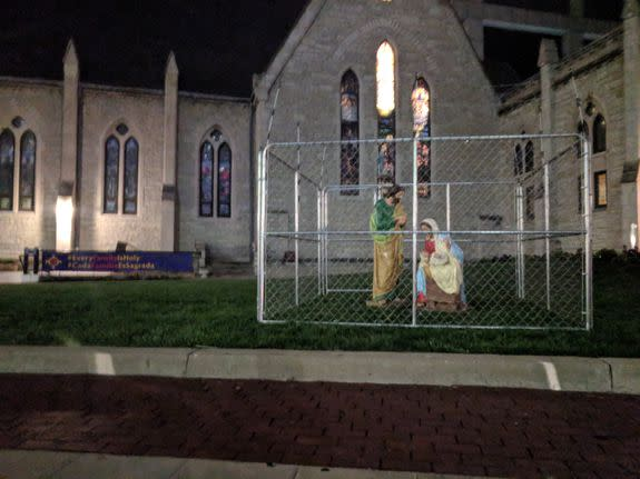 U.S. church cages Jesus, Mary and Joseph statues in immigration protest
