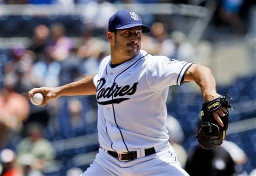 San Diego Padres starting pitcher Jason Marquis works the first inning in his inaugural appearance for the Padres, against the San Francisco Giants during a baseball game Thursday, June 7, 2012, in San Diego. (AP Photo/Lenny Ignelzi)