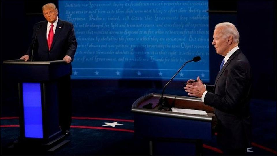 Democratic presidential candidate former Vice-President Joe Biden answers a question as US President Donald Trump