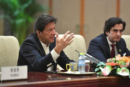 Pakistani Prime Minister Imran Khan attends a meeting with Chinese Premier Li Keqiang, not pictured, on April 28, 2019 at the Diaoyutai State Guesthouse in Beijing, China. Parker Song/Pool via REUTERS