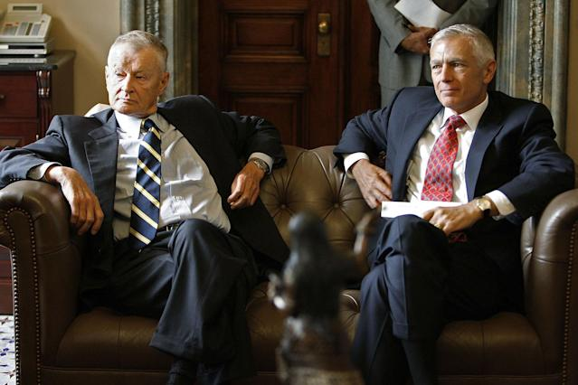 "<p>Former Carter National Security Advisor Zbigniew Brzezinski (L) and former NATO Supreme Allied Commander for Europe and retired Army General Wesley Clark attend a meeting in the office of Senate Minority Leader Harry Reid before a news conference at the Capitol on Sept. 13, 2006 in Washington. Congressional Democratic leaders and national security experts were critical of the Bush Administration and its handling of the ""War on Terror"" and are calling for a new direction in security policies. (Photo: Chip Somodevilla/Getty Images) </p>"