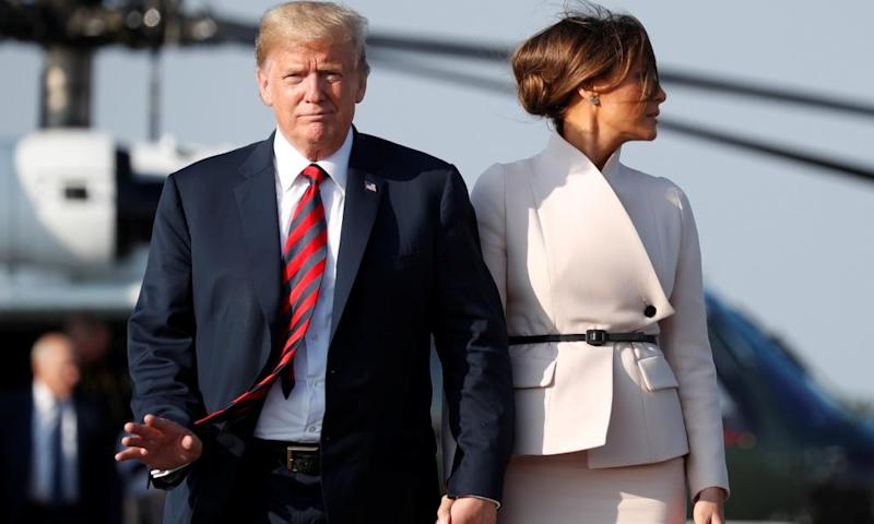 Donald Trump and first lady Melania Trump en route to Scotland.