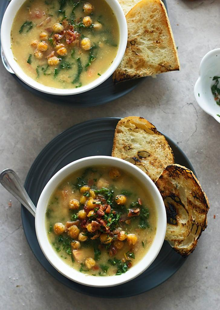 """<p><strong>Get the recipe</strong>: <a href=""""http://www.popsugar.com/food/Chickpea-Soup-Kale-Bacon-36702694"""" class=""""link rapid-noclick-resp"""" rel=""""nofollow noopener"""" target=""""_blank"""" data-ylk=""""slk:Tuscan chickpea soup with kale and bacon"""">Tuscan chickpea soup with kale and bacon</a><br> <strong>Cans needed:</strong> chickpeas</p>"""