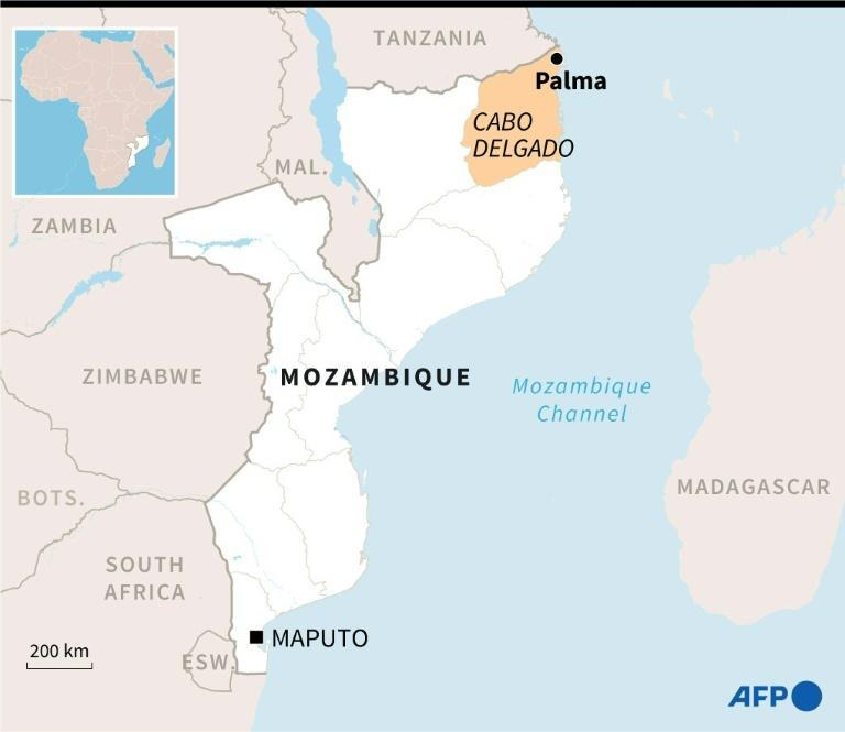 Map of Mozambique locating the province of Cabo Delgado and the city of Palma.