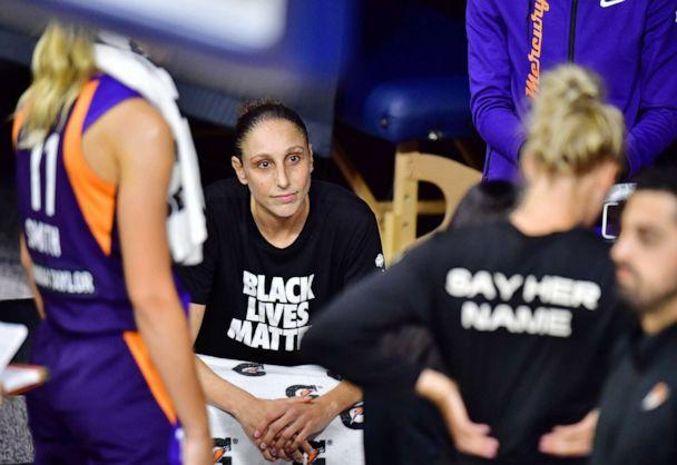 PHOTO: Diana Taurasi of the Phoenix Mercury looks on during a timeout in the first half of a game against the Los Angeles Sparks at Feld Entertainment Center on Aug. 19, 2020, in Palmetto, Fla. (Julio Aguilar/Getty Images)