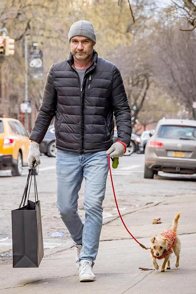 <p>We can't decide who's cuter — the <em>Ray Donovan</em> star or his adorable rescue puppy — as the duo bundled up for some some shopping in New York on Monday. (Photo: MMV/Backgrid)<br><br></p>