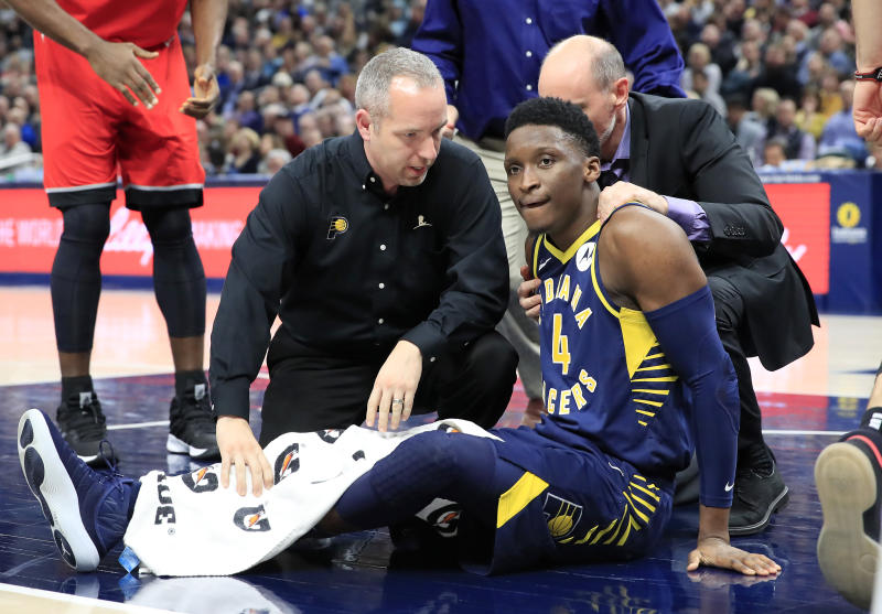 A timetable for Victor Oladipo's return remains vague. (Andy Lyons/Getty Images)
