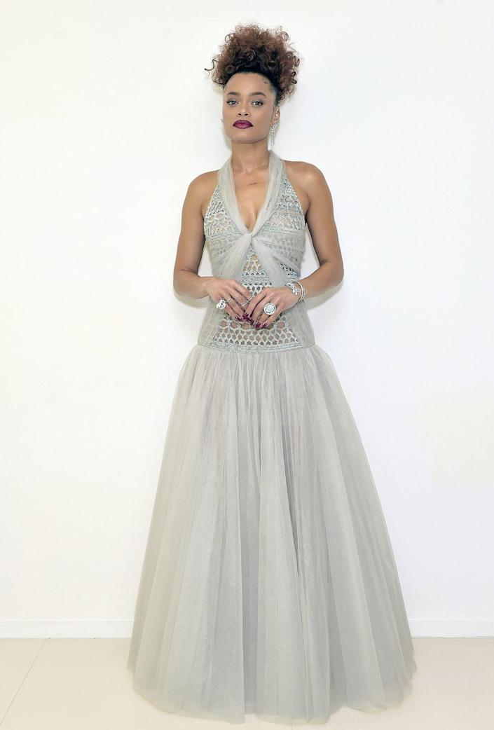 """<p><strong>What:</strong> Chanel</p><p><strong>Why:</strong> The Best Actress nominee, for her turn in """"The United States vs. Billie Holiday,"""" is stunning in a long gray silk tulle dress with a fully embroidered, sequin macramé bodice from the Haute Couture collection. It's just the right amount of elegance and whimsy.</p>"""