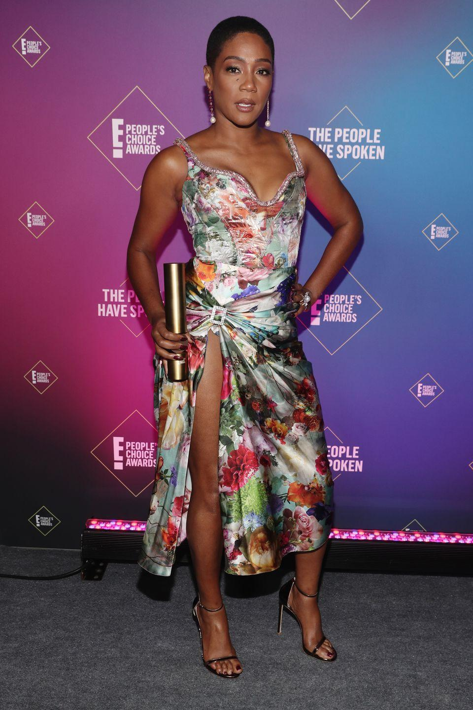 <p>It was all about floral drama for Tiffany Haddish, who wore a plunging printed design by Prabal Gurung for the award ceremony, where she won the Movie Star of 2020 accolade.</p>