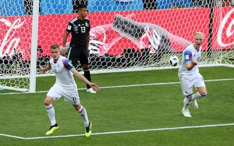 Alfred Finnbogason celebrates scoring for Iceland - Credit: Getty images