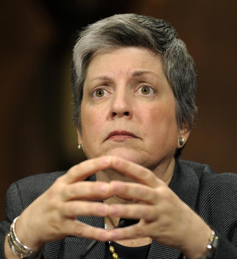 FILE - In this April 25, 2012 file photo, Homeland Security Secretary Janet Napolitano testifies on Capitol Hill in Washington before the Senate Judiciary Committee  hearing on the Secret Service prostitution scandal. Seeking to shake the disgrace of a prostitution scandal, the Secret Service late Friday, April 27, 2012 tightened conduct rules for its agents to prohibit them from drinking excessively, visiting disreputable establishments while traveling or bringing foreigners to their hotel rooms. . (AP Photo/Susan Walsh, File)