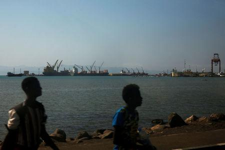 FILE PHOTO: A general view of the Port of Djibouti is seen in Ambouli, Djibouti April 23, 2017. REUTERS/Jonathan Ernst/File Photo