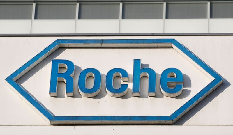 Logo of Swiss drugmaker Roche is seen in Basel
