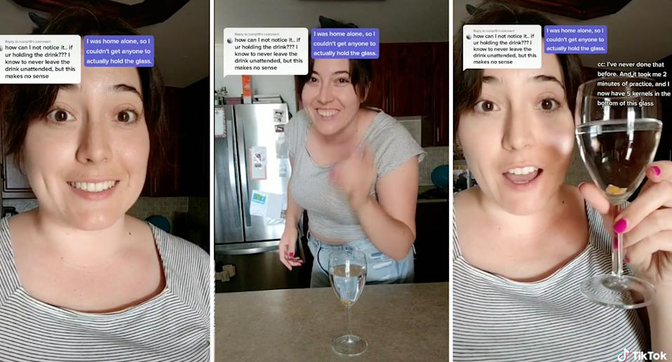 A woman shared a now-viral TikTok of how easy it is to spike a drink, using corn kernels to promote drink-safety. Source: TikTok/renaissancewomanhood
