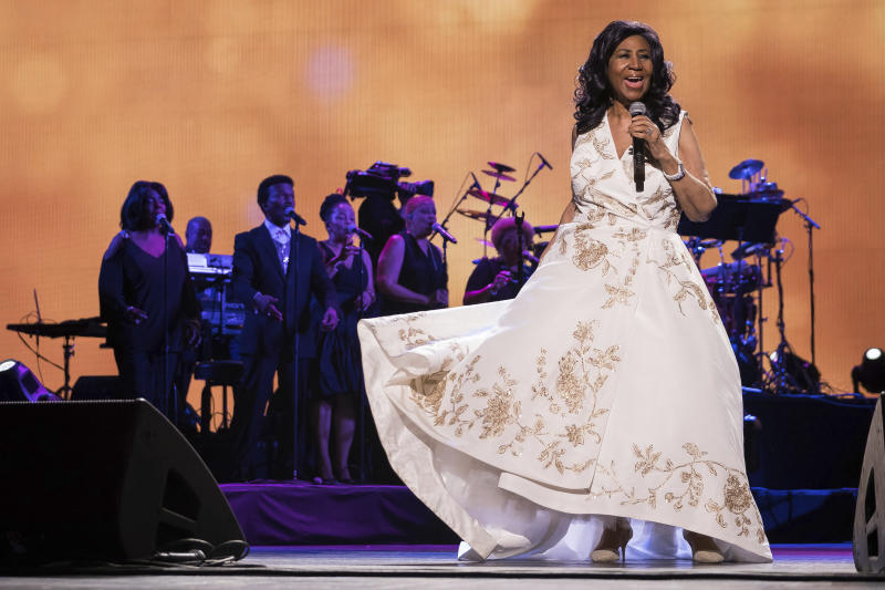"""FILE - In this April 19, 2017, file photo, Aretha Franklin performs at the world premiere of """"Clive Davis: The Soundtrack of Our Lives"""" at Radio City Music Hall, during the 2017 Tribeca Film Festival, in New York. Franklin died Thursday, Aug. 16, 2018, at her home in Detroit. She was 76. (Photo by Charles Sykes/Invision/AP, File)"""