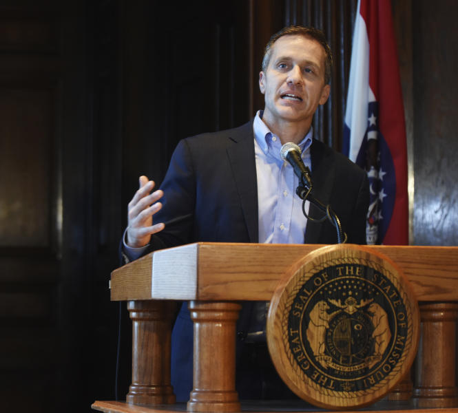"""FILE - In this April 11, 2018, file photo, Missouri Gov. Eric Greitens speaks at a news conference in Jefferson City, Mo., about allegations related to an extramarital affair with his hairdresser. Accused of sexual and political misconduct, Greitens is defying calls to resign from top lawmakers in his own party while instead banking on steady support from the voters who backed his populist campaign against """"corrupt insiders"""" and """"career politicians."""" (Julie Smith/The Jefferson City News-Tribune via AP, File)"""