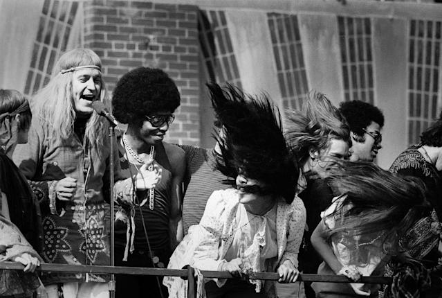 "<p>The cast of the rock musical ""Hair"" during a free performance in New York's Central Park to mark the one year anniversary of its Broadway debut on April 27, 1969. The musical celebrated hippies living in the Age of Aquarius and several of its songs became anti-Vietnam War anthems. (Photo: ""New York City Up and Down"" by Jean-Pierre Laffont, copyright © 2017, published by Glitterati Inc. <a href=""https://glitteratiincorporated.com"" rel=""nofollow noopener"" target=""_blank"" data-ylk=""slk:https://glitteratiincorporated.com"" class=""link rapid-noclick-resp"">https://glitteratiincorporated.com</a>) </p>"