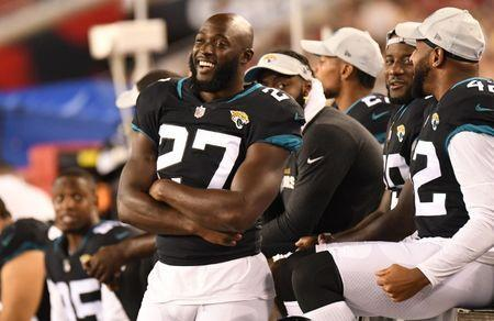 FILE PHOTO: Aug 30, 2018; Tampa, FL, USA; Jacksonville Jaguars running back Leonard Fournette (27) watches the second half against the Tampa Bay Buccaneers at Raymond James Stadium. Mandatory Credit: Jonathan Dyer-USA TODAY Sports/File Photo