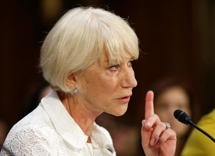 """Actress Helen Mirren testifies before a joint Senate Judiciary Subcommittee hearing to discuss legislation to """"facilitate the return of stolen artwork by the Nazis during the Holocaust"""" on Capitol Hill in Washington on June 7, 2016."""