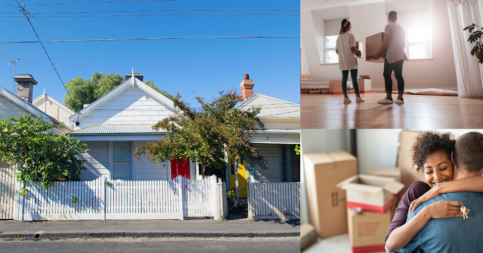 Bungalow style houses with young people moving into a new home