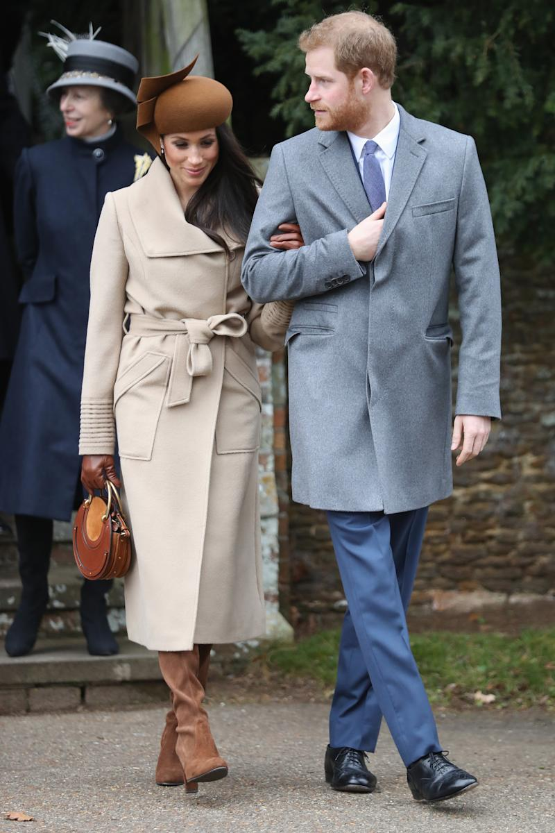 Meghan Markle wearing the Sentaler coat on Christmas Day on December 25, 2017. [Photo: Getty]
