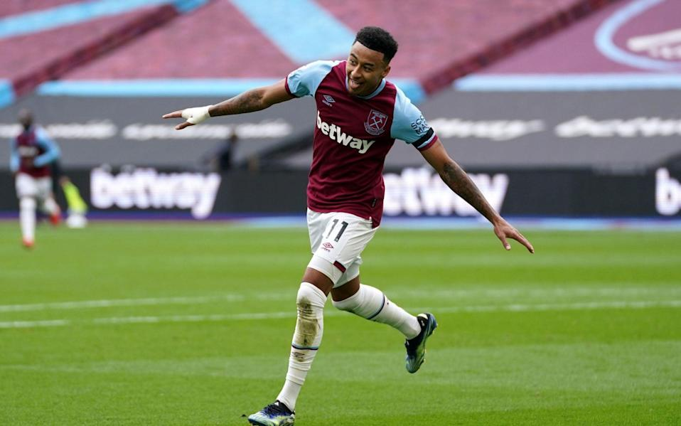 West Ham United's Jesse Lingard celebrates scoring their side's second goal of the game during the Premier League match at the London Stadium against Leicester City - John Walton/PA
