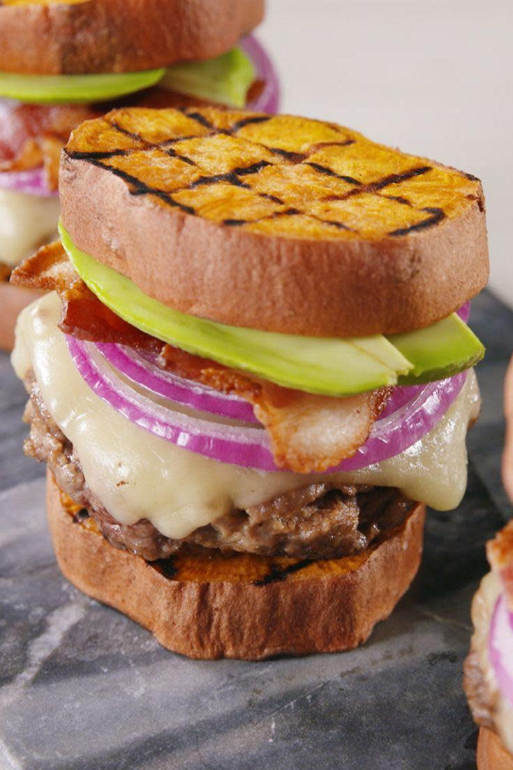 """<p>No bun, no problem.</p><p>Get the recipe from <a href=""""https://www.delish.com/cooking/recipe-ideas/a21084799/sweet-potato-sliders-recipe/"""" rel=""""nofollow noopener"""" target=""""_blank"""" data-ylk=""""slk:Delish."""" class=""""link rapid-noclick-resp"""">Delish.</a></p><p><a class=""""link rapid-noclick-resp"""" href=""""https://www.amazon.com/Creuset-Signature-Handle-Skillet-4-Inch/dp/B00B4UOTBQ/?tag=syn-yahoo-20&ascsubtag=%5Bartid%7C1782.g.1441%5Bsrc%7Cyahoo-us"""" rel=""""nofollow noopener"""" target=""""_blank"""" data-ylk=""""slk:BUY NOW"""">BUY NOW</a> <strong><em>Lodge Cast Iron Reversible Grill/Griddle, $45, amazon.com</em></strong></p>"""