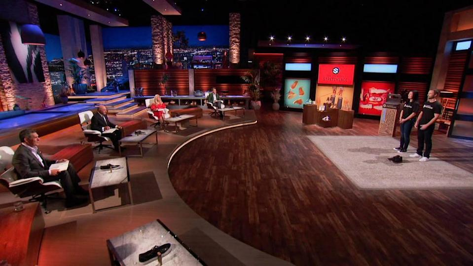 """Jamie Montz, and her husband, David, appear on the set of ABC's long-running show """"Shark Tank,"""" seeking an investment in her invention, The Original Stretchlace. The show will air in Boise at 7 p.m. Friday on KIVI-Channel 6."""