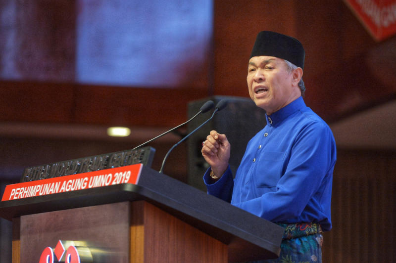 Umno president Datuk Seri Ahmad Zahid Hamidi delivers his speech during the Umno General Assembly 2019 at PWTC in Kuala Lumpur December 7, 2019 — Picture by Shafwan Zaidon
