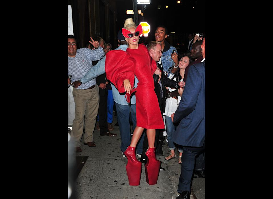 The crimson towers on her feet aren't even the most distracting part of this look.    September 2011, New York City  (Photo Credit: Getty Images)