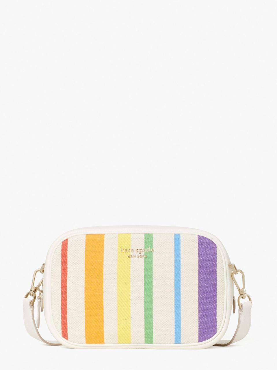 """<p><strong>Kate Spade</strong></p><p>katespade.com</p><p><strong>$198.00</strong></p><p><a href=""""https://go.redirectingat.com?id=74968X1596630&url=https%3A%2F%2Fwww.katespade.com%2Fproducts%2Frainbow-medium-camera-bag%2FPXR00526.html&sref=https%3A%2F%2Fwww.seventeen.com%2Flife%2Fg20195640%2Fgay-pride-clothing-lgtbq-friendly-companies%2F"""" rel=""""nofollow noopener"""" target=""""_blank"""" data-ylk=""""slk:Shop Now"""" class=""""link rapid-noclick-resp"""">Shop Now</a></p><p>In celebration of Pride month 2021, Kate Spade will donate 20% of profits from their <strong><a href=""""https://go.redirectingat.com?id=74968X1596630&url=https%3A%2F%2Fwww.katespade.com%2Fsearch%3Fq%3Drainbow%26srule%3Dfunnel-search&sref=https%3A%2F%2Fwww.seventeen.com%2Flife%2Fg20195640%2Fgay-pride-clothing-lgtbq-friendly-companies%2F"""" rel=""""nofollow noopener"""" target=""""_blank"""" data-ylk=""""slk:Rainbow Collection"""" class=""""link rapid-noclick-resp"""">Rainbow Collection</a> to <a href=""""https://give.thetrevorproject.org/give/63307/#!/donation/checkout?"""" rel=""""nofollow noopener"""" target=""""_blank"""" data-ylk=""""slk:The Trevor Project"""" class=""""link rapid-noclick-resp"""">The Trevor Project</a>.</strong></p>"""