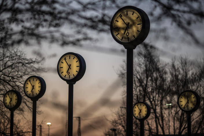 """The """"Zeitfeld"""" (Time Field) clock installation by Klaus Rinke is seen at the entrance of the Suedpark, on March 29, in Dusseldorf Germany. (Photo by Maja Hitij/Getty Images)"""