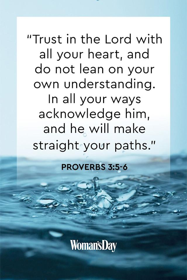 "<p>""Trust in the Lord with all your heart, and do not lean on your own understanding. In all your ways acknowledge him, and he will make straight your paths.""</p><p><strong>The Good News: </strong>If you put your complete trust in the Lord, you will be rewarded. He will set your life straight and lead you down the right path.<strong></strong></p>"