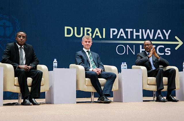 (From L) Rwandan Minister of Natural Resources Vincent Biruta, Executive Director of UNEP Erik Solheim and President Paul Kagame attend the official opening of the 28th meeting of the Parties to the Montreal Protocol in Kigali, on October 13, 2016 (AFP Photo/Cyril Ndegeya)