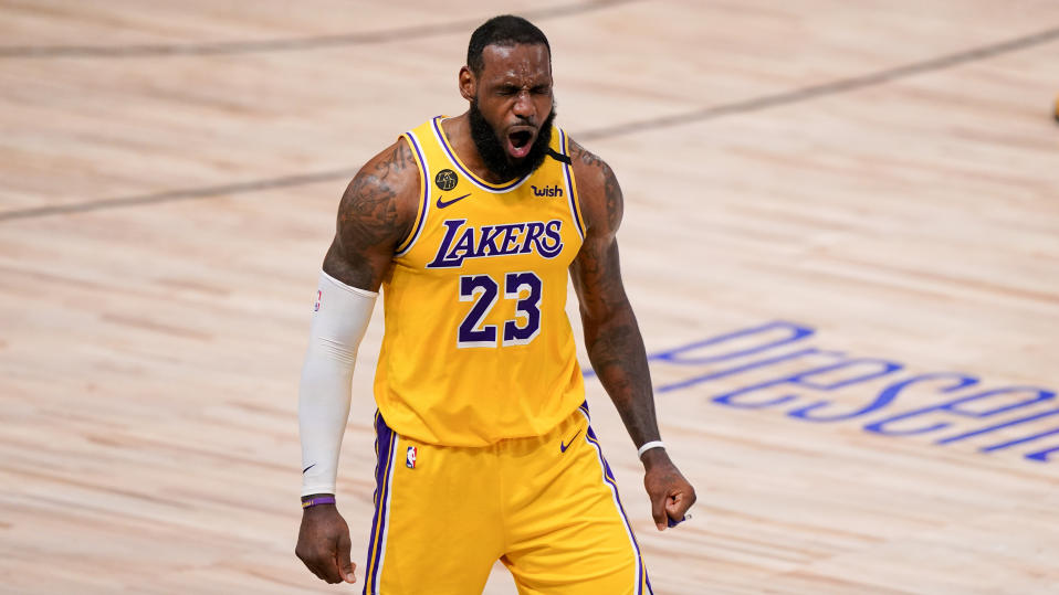 Los Angeles Lakers forward LeBron James plays against the Miami Heat during the second half in Game 4 of basketball's NBA Finals Tuesday, Oct. 6, 2020, in Lake Buena Vista, Fla. (AP Photo/Mark J. Terrill)