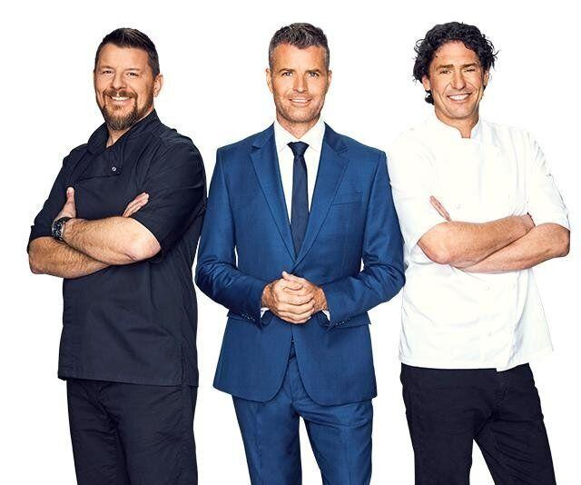 Colin Fassnidge (R) starred on 'My Kitchen Rules' alongside Manu Feildel (L) and Pete Evans (C)  (Photo: Channel 7)