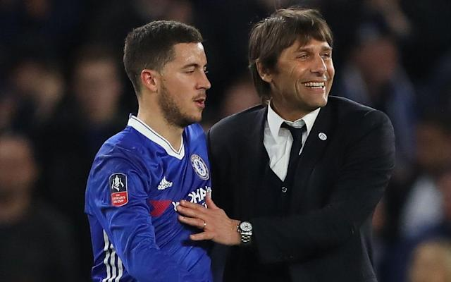 Antonio Conte (R) is desperate for Eden Hazard to stay at Chelsea  - Rex Features
