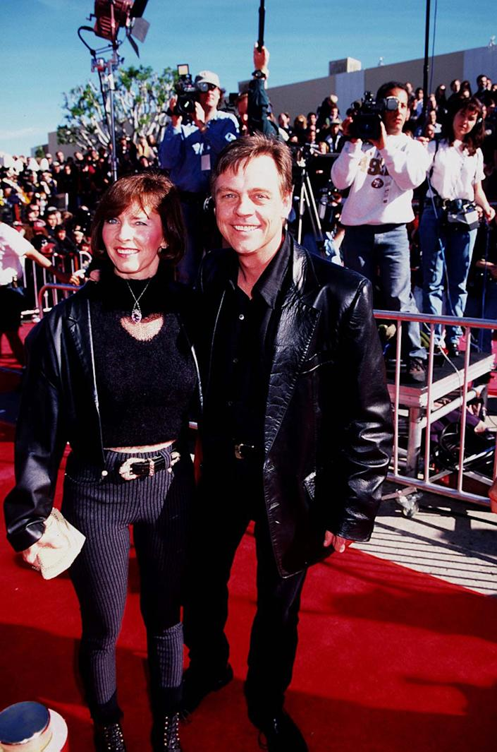 Mark Hamill (right) and guest during Premiere of 'Star Wars: Special Edition' In 1997 at Westwood in Westwood, CA, United States. (Photo by Magma Agency/WireImage)