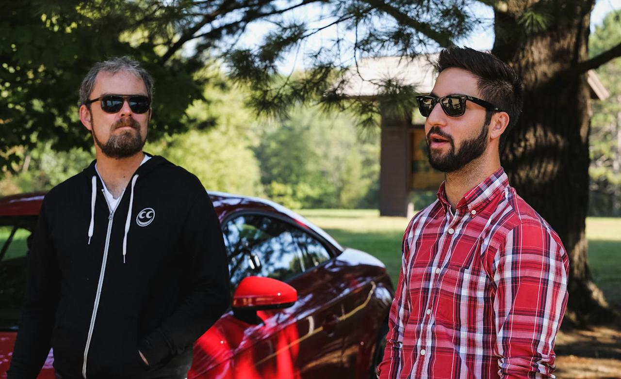 <p>Alex Stoklosa and Davey Johnson share a break in the action during 10Best testing. </p>